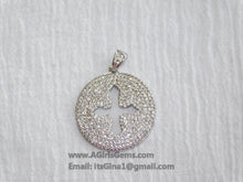 Load image into Gallery viewer, CZ Micro Pave Cross Pendant, Round Disc Religious Charms, Gold - A Girls Gems