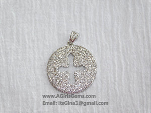 CZ Micro Pave Cross Pendant, Round Disc Religious Charms, Gold - A Girls Gems