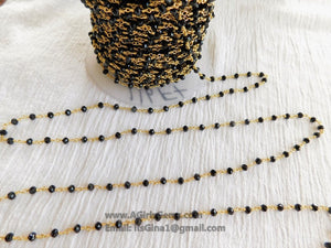 22 k Gold Black Rosary Chain Beaded Rosary Chain  4 mm Rondelle Bulk Wholesale, By the Foot DIY Religious Boho Style Necklace Bracelets
