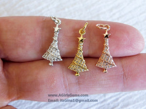 Micro Pave CZ Christmas Tree Charm Pendant CZ Gold Plated Christmas Tree Pendant Charm Connector Bracelet Necklace AGG259 - A Girls Gems
