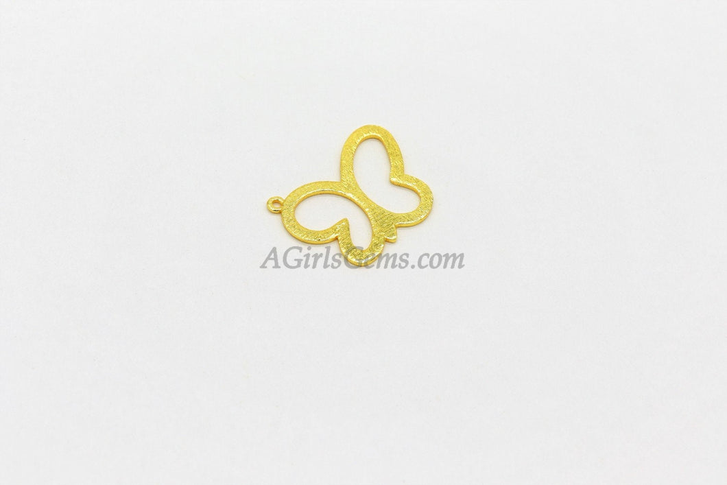 Butterfly Charm, 20 x 25 mm  *Linking* Charm in Brushed Gold Plated, Flat Brushed Gold Charms, Lightweight for DIY Earrings
