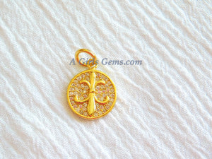 CZ Micro Pave Fleur De Lis Charm Pendant, Gold Plated New Orleans Louisiana Charm, French Lily Flower Round Charms - A Girls Gems