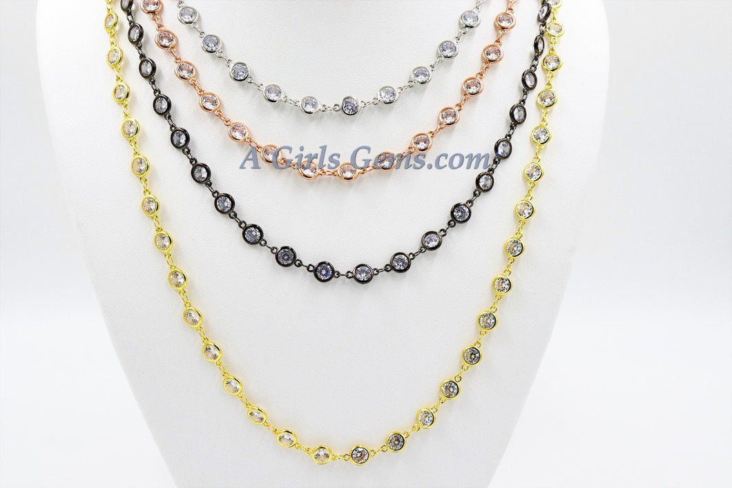 CZ Chain By The Yard, 4, 5 or 6 mm Genuine CZ Bezel Chain *Gold* Cz Connectors, Bezel Link CZ Chain *High Quality Chains*