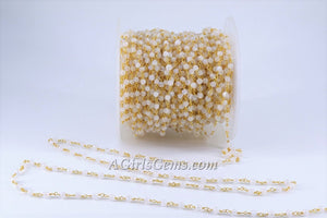 Rainbow Moonstone Gold Rosary Chain, 4 mm Round Beaded Gemstone Chains, by the Foot for Rosary Necklace - A Girls Gems