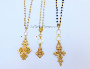 Gold Rosary Cross Necklace on Smoky Rosary Chain Gold Brass Ethiopian Cross Necklace Rosary Chain By Regina Harp Designs