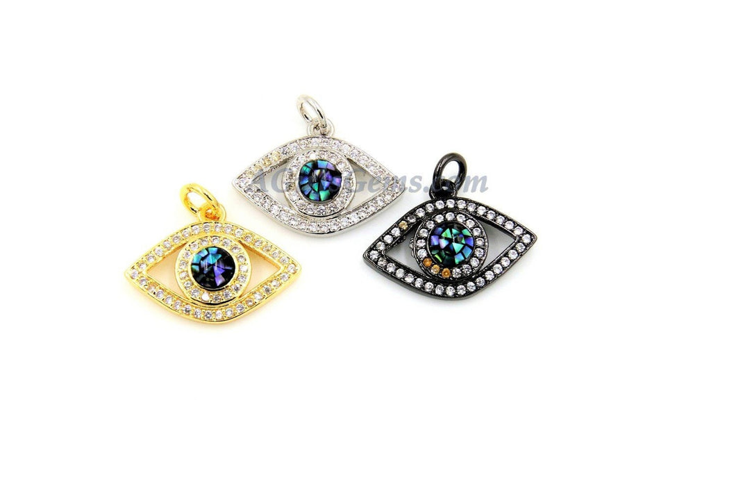 CZ Micro Pave Evil Eye Charm,*Stunning* Blue Evil Eye* Pendants for Bracelets/Necklace in Gold, Silver, Black Rhodium Plated - A Girls Gems