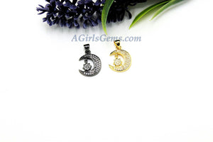 Crescent Moon Charm, CZ Pave Star, Moon Dangle, Gold, Silver, Black Charms for Necklace, Bracelets - A Girls Gems