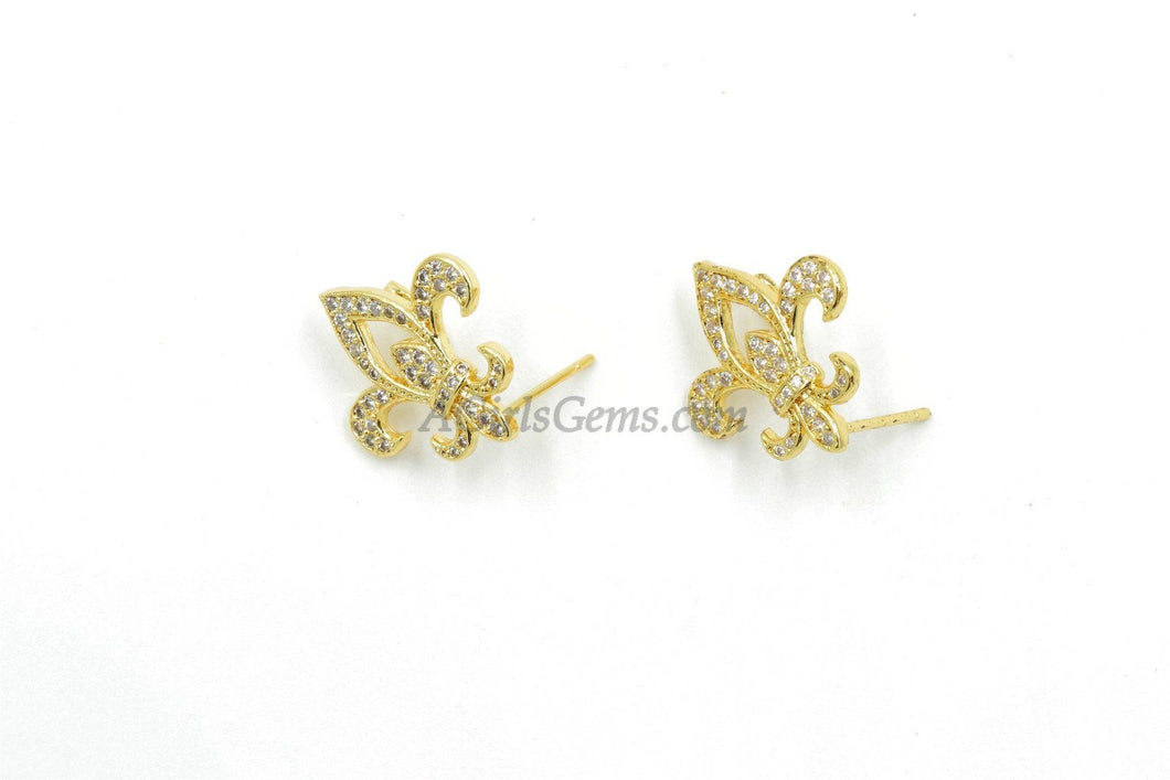 French Flower Post Earrings with Loop - A Girls Gems