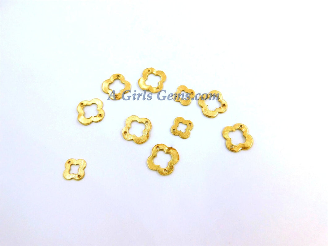 Brushed Gold Flat Ring  Charms - A Girls Gems
