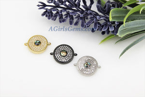 Evil Eye Charm Connector, CZ Micro Pave Round Disc, 14 x 18 mm - A Girls Gems