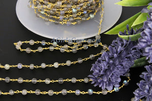 Labradorite Gemstone Rosary 4 mm Chain 22k Gold Plated Wholesale Chain Boho Jewelry Chains 1 5 10 feet Chain Roll Bulk Ships from USA - A Girls Gems