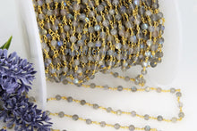 Cargar imagen en el visor de la galería, Labradorite Gemstone Rosary 4 mm Chain 22k Gold Plated Wholesale Chain Boho Jewelry Chains 1 5 10 feet Chain Roll Bulk Ships from USA - A Girls Gems