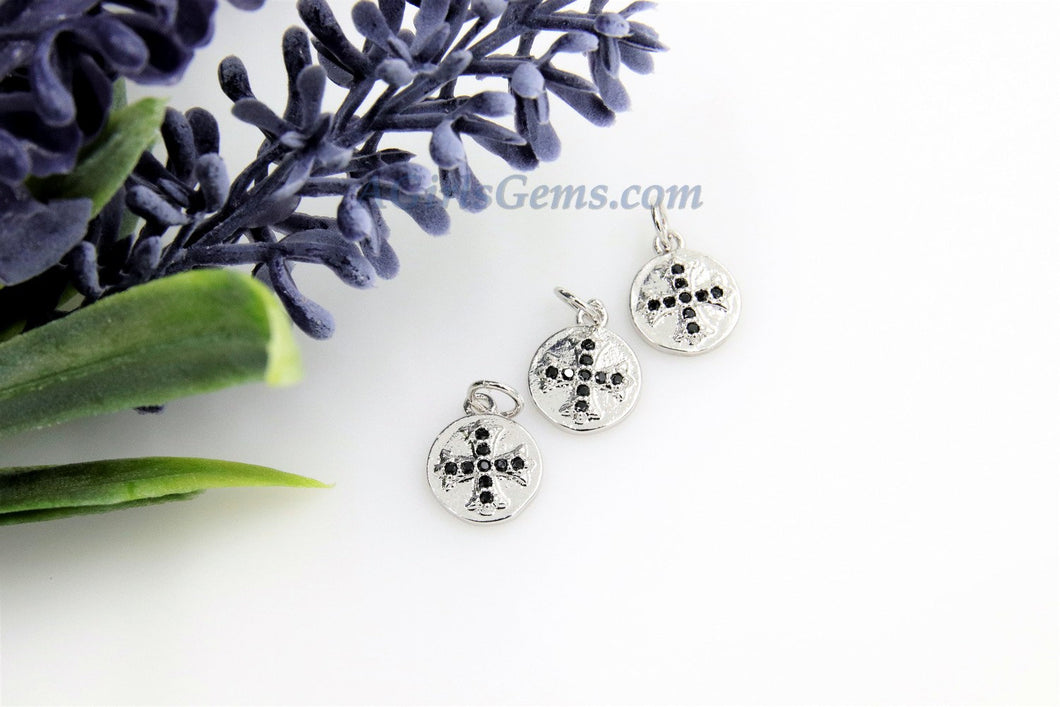 Maltese Cross Charms, 2 Pcs CZ Micro Black Pave Religious Beads - A Girls Gems