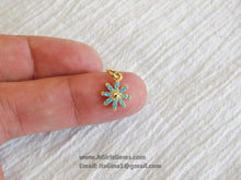 Load image into Gallery viewer, Turquoise Blue Starburst Charm Pendant Connector - A Girls Gems