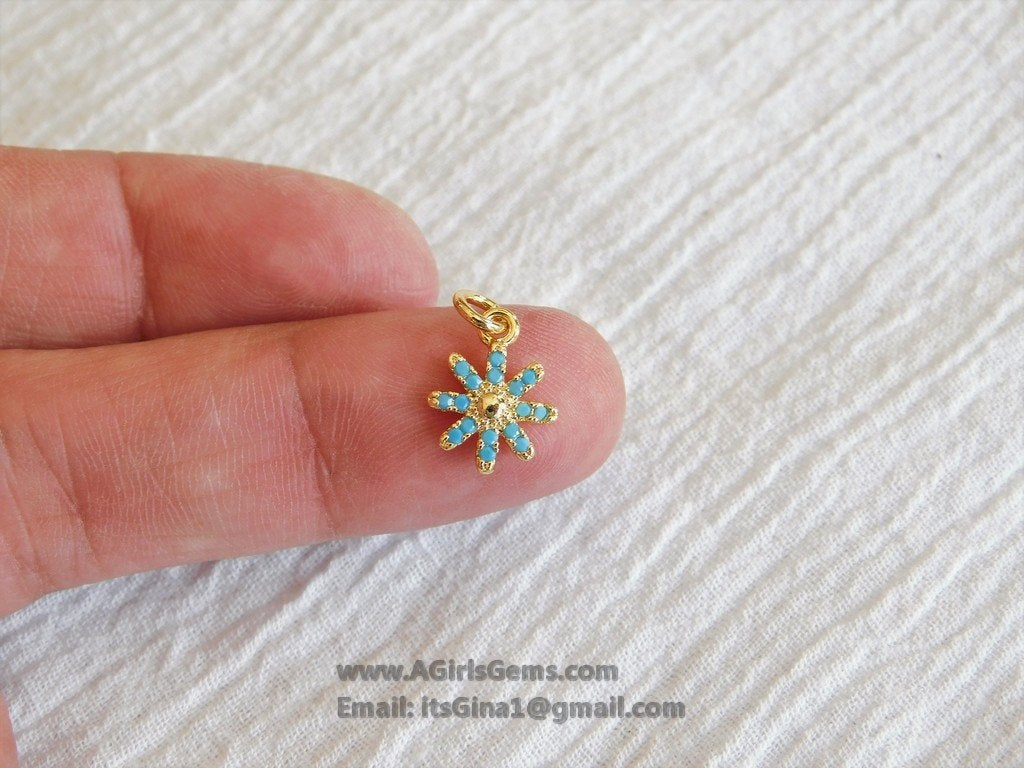 Turquoise Blue Starburst Charm Pendant Connector - A Girls Gems