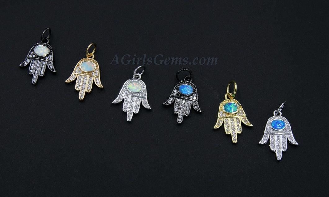 Tiny Opal Hand Charms, White and Blue Turquoise 18 K Gold, Black - A Girls Gems