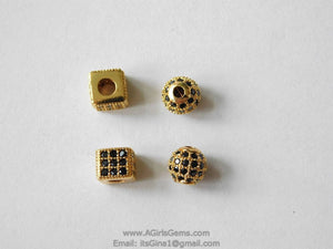 CZ Micro Pave Balls and Squares, Round Silver or Gold with Black CZ Pave Beads, 6 mm Focal Bead Spacer - A Girls Gems