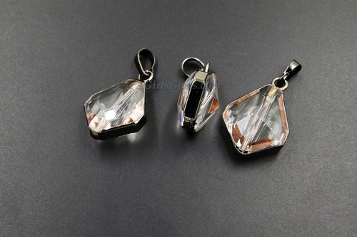 Crystal Soldered Pendants, *NEW* Black Crystal Teardrop Oval - A Girls Gems