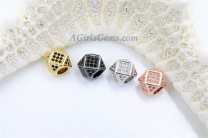 CZ Cube Beads, Cubic Zirconia Large Hole Beads, Pave Hexagon Square,Silver, Gold, Black Pave Beads Jewelry Findings - A Girls Gems