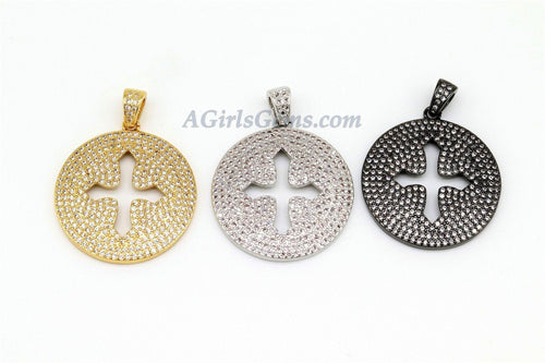 Micro Pave CZ Cross Disc Gold Pendant Plated Round CZ Holy Cross Cubic Zirconia Pendant - A Girls Gems