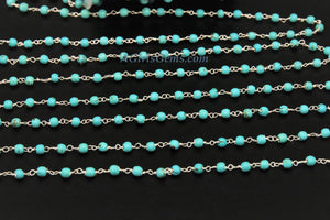4 mm Wire Wrapped Silver plated Blue Howlite Chain for Necklace Chains - A Girls Gems