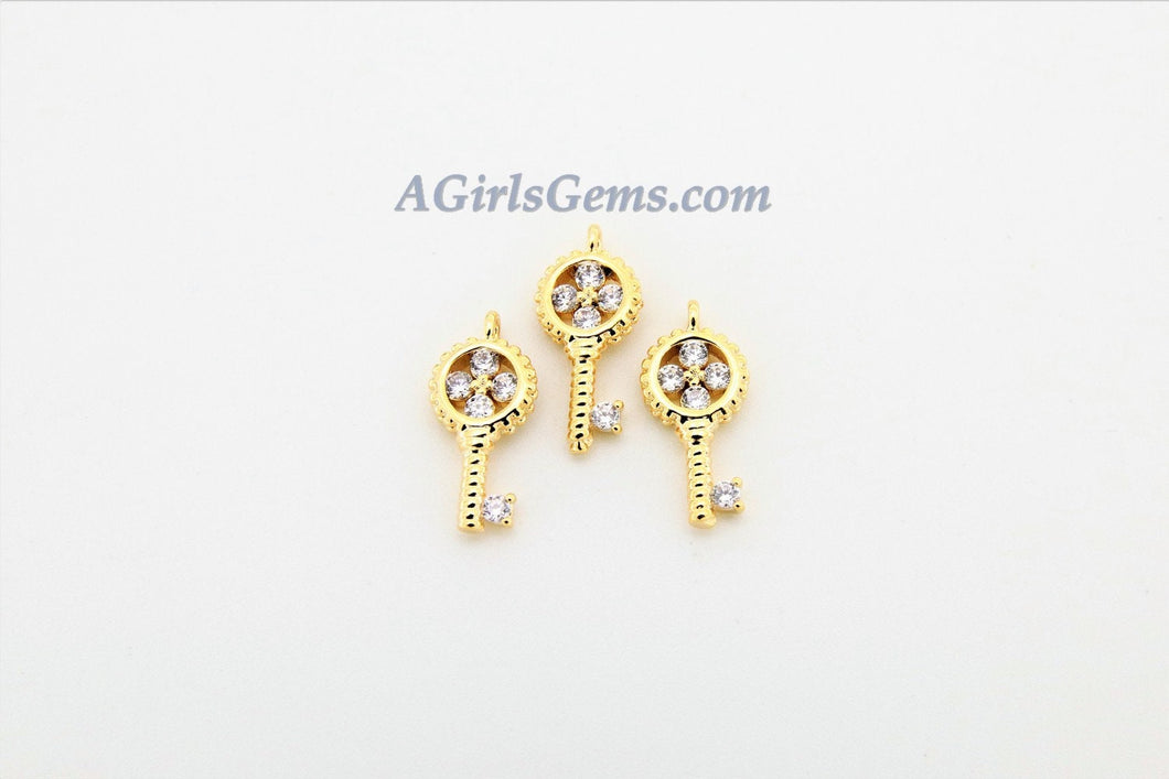 CZ Micro Pave Tiny Key Charm, 18 k Gold Plated 6 x 13 mm Cubic Zirconia Key for Necklace - A Girls Gems