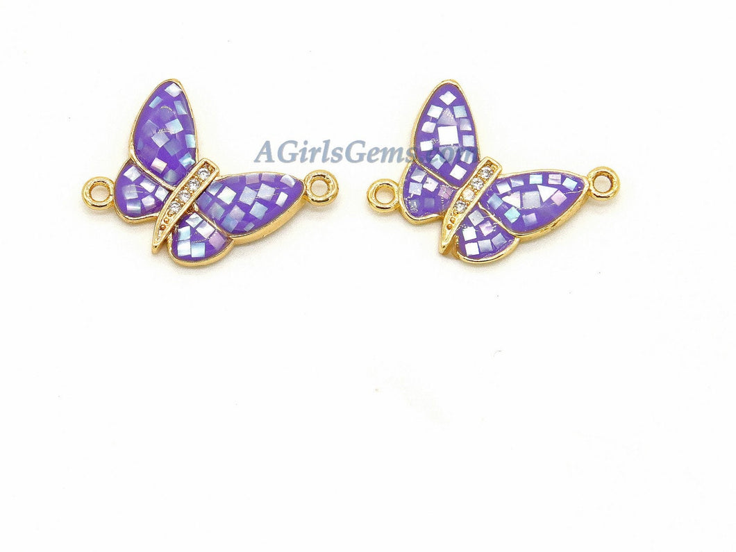 Gold Butterfly Connector, 2 Pcs CZ Micro Pave Purple Shell Butterflies, African Monmouth Butterfly Insect Jewelry, Spring Charm Jewelry - A Girls Gems