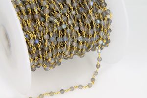 Labradorite Gemstone Rosary 4 mm Chain 22k Gold Plated Wholesale - A Girls Gems