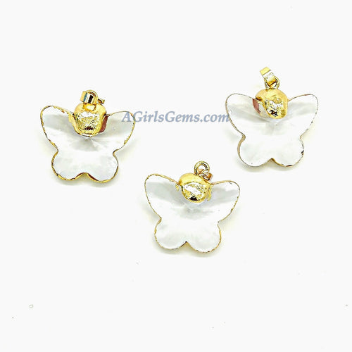 Soldered Crystal Pendants, French Crystal Soldered Pendant in *Gold Butterfly Charm*, 35 x 40 mm Chandelier Bracelet - A Girls Gems