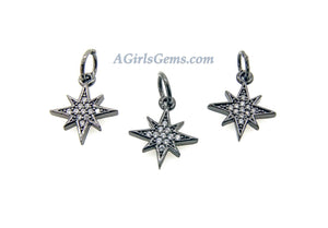 CZ Star Charm, 2 Pcs CZ Micro Pave Tiny North Star, 12 x 14 mm Crystal Starburst 18 K Rose Gold - A Girls Gems