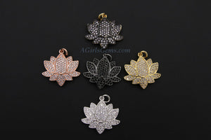 CZ Pave Lotus Flower Charms, Rose Gold, Silver - A Girls Gems