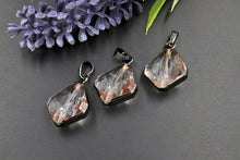 Load image into Gallery viewer, Crystal Soldered Pendants, *NEW* Black Crystal Teardrop Oval, Black/Gold Diamond Shaped Chandelier Crystal Charms in Copper Foil