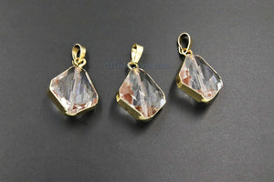 Crystal Soldered Pendants, *NEW* Black Crystal Teardrop Oval, Black/Gold Diamond Shaped Chandelier Crystal Charms in Copper Foil