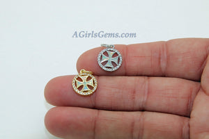 Tiny Opal Maltese Cross Charms, CZ Micro Gold/Silver Cross Opalite, Fire Opal Fireman Round Disc Charms for Jewelry Making - A Girls Gems