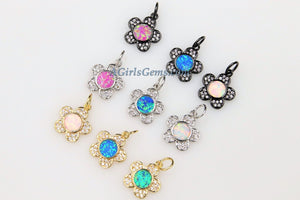 Tiny Opal Flower Charms, CZ Pave Daisy Pendants Gold/Silver/Black Plated - A Girls Gems