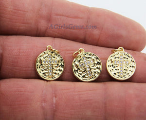 Gold Cross Charms, 2 Pcs CZ Micro Pave Religious Cross Charm, 18 K Gold Plated Hammered/Textured Round Disc Beads 13  x 15 mm/Love Charms - A Girls Gems