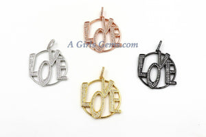 CZ Micro Pave Love Connector Charm - A Girls Gems