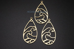 Teardrop Charm, Large Oval Wavy Charm, Brushed Gold Beach Pendants, DIY Earring Parts Jewelry Making