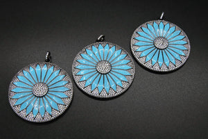 Blue Turquoise Flower Pendant, CZ Micro Pave Enamel Pendant,Round Disc MultiColor Blue/Black/Silver Plated Large Charm Pendants - 46 x 50 mm