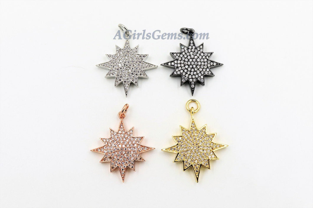 Star Charms, CZ Micro Pave  Rose Gold #10, Silver, Black Starburst Charms, Cubic Zirconia North Star 14 x 24 mm - A Girls Gems