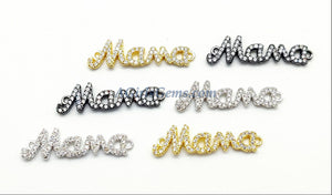 CZ Micro Pave Mama Connectors, Mother Bracelet Links Gold/Silver/Black Plated Jewelry Making Supplies, Mothers Day Gifts