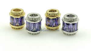Purple Crystal Beads, CZ Micro Pave Gold Tube Beads, Large Hole Beads 10 x 12 mm 18 K Gold Plated - A Girls Gems