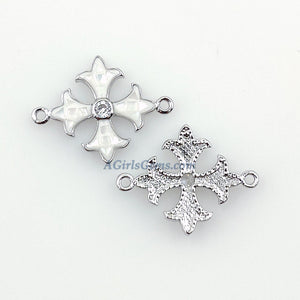 Maltese Cross Connector, CZ Micro Pave Silver Plated White Shell New Coptic Cross Centers, Crusader Jewelry Links - A Girls Gems