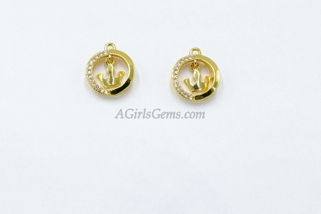 CZ Micro Pave Gold Crown Charm, *In Motion Charm* Gold plated Tiara Dangle *Movable* Swinging* Crown Ring Charm - A Girls Gems