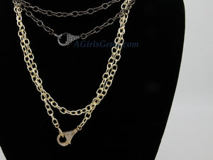 Double Choker Wrap Necklace, Front Clasp Necklace, CZ Lobster Clasp, 14/16/18/34 inch Extra Long Chain Wrap Around Necklace in Gold or Black - A Girls Gems
