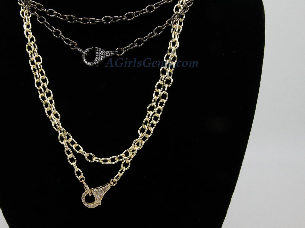 Double Choker Wrap Necklace, Front Clasp Necklace, CZ Lobster Clasp, 14/16/18/34 inch Extra Long Chain Wrap Around Necklace in Gold or Black