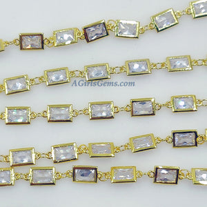 Genuine Cubic Zircon Chains, Rectangle Bezel Chains Silver, Gold Plated, 6 x 11 mm CZ Connectors Links - A Girls Gems