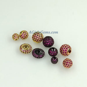 Round Roundel Beads, 2 Pcs CZ Micro Pave Flat Donut Bead - A Girls Gems