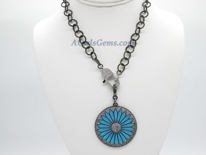 Turquoise Flower Necklace, CZ Micro Pave Silver Rhodium Front Lobster Clasp Choker, Gunmetal Black Chain Necklace with Enamel Blue Daisy