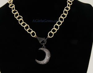 Moon Choker Necklace, CZ Black Pave Front Lobster Clasp Choker, Crescent/Celestial Black Moon on 16 K Gold Plated Designer Chain Necklace